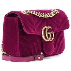 GUCCI GG Marmont Mini velvet shoulder bag (€1.090) ❤ liked on Polyvore featuring bags, handbags, shoulder bags, shoulder handbags, gucci, miniature purse, mini shoulder bag and gucci handbags
