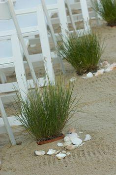 beach grass for aisle at beach wedding