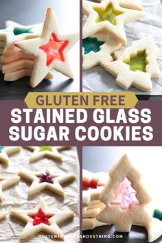 These stained glass gluten free sugar cookies are the easy way to dress up cutout cookies for the holidays. Gluten Free Sugar Cookies, Gluten Free Baking, Gluten Free Desserts, Gluten Free Recipes, Healthy Desserts, Gluten Free Lasagna, Stained Glass Cookies, Blueberry Cookies, Christmas Stars