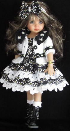 """Sweater,sundress,hat set made for effner little darling,effner bjd 13"""" dolls"""