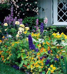 Cottage-style front-yard planting along a low fence, Better Homes and Gardens.