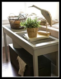 Shutter Sofa Table - 25 Ways to Upcycle Your Old Stuff on HGTV.Use 2 of the half shutters on third floor to create top of our sofa table or coffee table. (or 4 for sq coffee table). Old Window Shutters, Diy Shutters, Repurposed Shutters, Farmhouse Shutters, Rustic Shutters, Bedroom Shutters, Vintage Shutters, Window Frames, White Shutters
