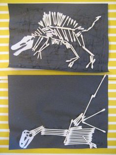 Dinosaur bones craft made with Q-tips! great site with a million dinosaur ideas: books, crafts, and more. Dinosaur Activities everyone Dinosaurs Preschool, Dinosaur Activities, Preschool Crafts, Preschool Activities, Dinosaur Skeleton, Dinosaur Bones, Dinosaur Art, Skeleton Craft, Diy With Kids