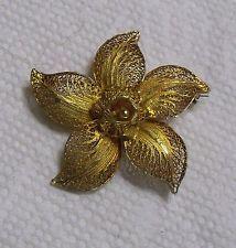 vintage Topazio Portugal Sterling Silver Filigree Gold Vermeil gilt Flower pin