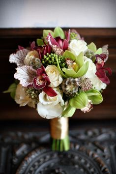 Orchids, Roses and Scabiosa