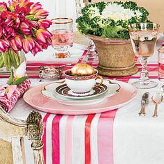 The Place Setting | Combine dish sets. (Try borrowing from a friend.)
