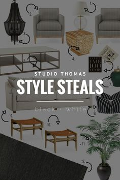 STYLE STEALS: BLACK + WHITE LIVING ROOM
