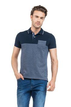 Camisolas, t-shirts, pólos e tops | Polo com mistura de malhas e bolso frontal | Salsa