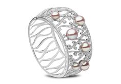 Yoko London Blossom Bracelet in 18k White Gold with Diamonds and Natural Color Pearls (=)