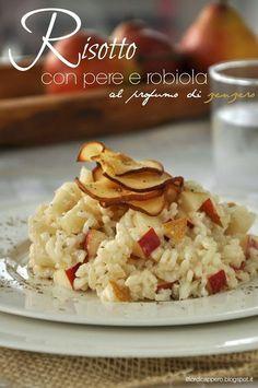 """Risotto con pere e robiola, due ingredienti semplice che creano un piatto veramente delicato e """"delizioso"""" e autunnale."""