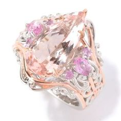Michael Valitutti Palladium Silver Pear Shaped Morganite & Pink Sapphire Ring | Overstock.com Shopping - The Best Deals on Gemstone Rings