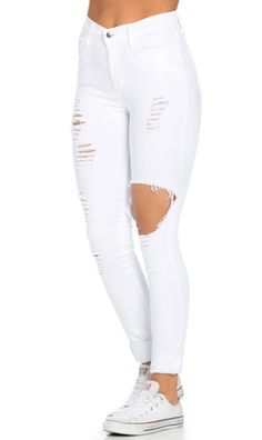 2020 Best Women Jeans La Idol Jeans Straight Leg Jeans Stylish Jeans - Lilly is Love Cute Ripped Jeans, Distressed Skinny Jeans, High Jeans, High Waist Jeans, Torn Jeans, White Skinny Jeans, Girls White Jeans, Womens Skinny Jeans, White Girl Outfits