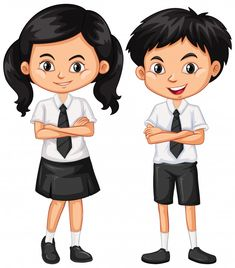 Boy and girl in school uniform Free Vect. School Uniform Girls, Girls Uniforms, Letter Of Interest Sample, 3d Art Drawing, Powerpoint Background Design, Baby Animal Nursery, Kindergarten Lesson Plans, Free Education, Picture Story