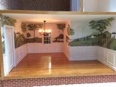 This is the Dining room in the CenterHarbor Dollhouse, our customer had this wallpaper made for her!!
