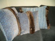 coussins, lainage et récup fourrure Hand made