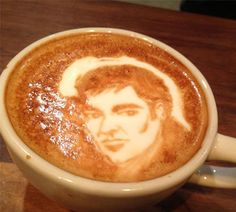 Quentin Tarantino Latte Art - Mike Breach, a barista at a Manhattan hotel, began experimenting with creating drawings on the top of lattes while at work. Click the photo to view more coffee art.