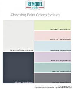 Tips for choosing paint colors for kid spaces.  Remodelaholic.com #children #kidsroom