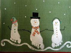 Framed Christmas art using grand-baby feet