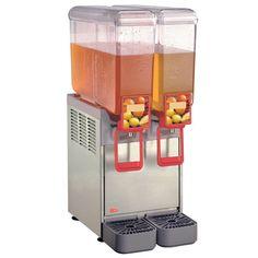 Cecilware Arctic Compact 8/2 Double 2.2 Gallon Bowl Premix Cold Beverage Dispenser with Agitation Function