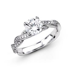 Fabled Collection - This gorgeous 18K white engagement ring is comprised of .25ctw round white Diamonds. - MR1498
