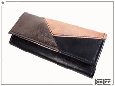 Schwarz/Kupfer Lederportemonnaie // Black/ Copper leather wallet by KaaLee.de via DaWanda.com