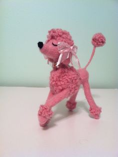 Felted Snooty Poodle Pink with Pink Bows and by MelaniesMenagerie,