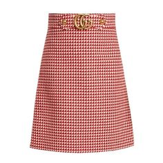 Gucci GG wool-blend skirt ($840) ❤ liked on Polyvore featuring skirts, red white, knee length flared skirts, white flare skirt, print skirt, patterned skirts and white knee length skirt