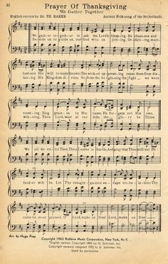 Printable Antique Thanksgiving Hymn Book Page via Knick of Time
