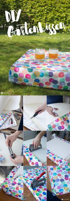 DIY Gartenkissen mit Tischfunktion selbermachen - wasserabweisendes Kissen für den Garten - DIY Ideen für den Garten
