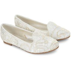 Monsoon Gold Lace Slipper Shoe (€34) ❤ liked on Polyvore featuring shoes and slippers