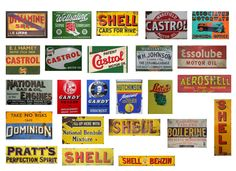 1/18 scale model .Vintage garage signs set 4). stickers/decals. GLOSS finish