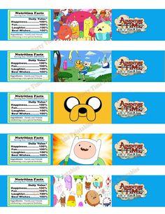 Printable Water Bottle Label - Party Printables - Adventure Time 5 designs. via Etsy.