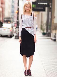 look office street style saia blusa