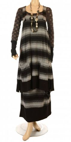 G'ioze Black & Grey Pattern Pinafore Dress...who sez big girls can't wear horizontal stripes?