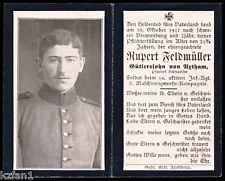 WW1 GERMAN MASCHINEGUNN 16 INFANTRY DEATH CARD STERBEBILD - BURIED MENEN BELGIUM