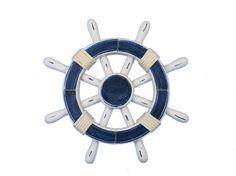 "Rustic Dark Blue and White Decorative Ship Wheel 12"""