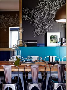 Turquoise dining accent /Photo – Sean Fennessy, production – Lucy Feagins.