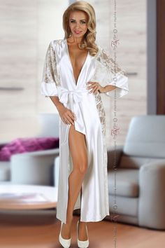 Beauty Night Bouquet White Full Dressing Gown - BN6434 | JACOBEANS
