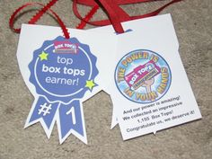Last year the class who had the most boxt tops won a pizza/icecream party.  In addition to their party and traveling trophy they received certificates and these awards I made.  2nd place was so very close that I made each student in that class an award necklace to wear too. Keep up the great work kids!!  Not bad for just over 300 students!