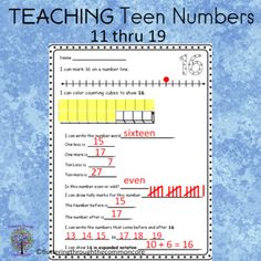 Teen numbers NumeracyMath Journal Pages or AssessmentEach page has the following format:I can mark X on a number line. I can color counting cubes to show X. I can write the number word ____________________One less is __________One more is __________Ten Less is __________Ten more is __________Is this... First Grade Lessons, First Grade Activities, Teaching Activities, Teaching Teen Numbers, Expanded Notation, Student Self Assessment, Number Words, Number Worksheets, Math Journals