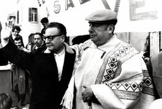 Pablo Neruda with President Salvador Allende, both of Chile. Like the great Latin American writers on this page Neruda's social conscience was primal and well expressed. Victor Jara, Famous Duos, Military Coup, Nobel Prize Winners, News Around The World, Speak The Truth, Salvador Dali, Historical Pictures, Poet
