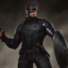 """Some classic comic costume explorations for Backy when he becomes new Captain America. Here is second """"combat"""" costume version + stealth suit Also change him a haircut for more military feel Check previous """"heroic"""" suit ; Bucky Barnes Captain America, Captain America Suit, Captain America Costume, Superhero Cosplay, Superhero Characters, Fictional Characters, Marvel Dc Movies, Marvel Heroes, Chris Evans"""