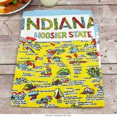 Indiana Map Flour Sack Cotton Souvenir Kitchen Towel   Kitchen Linens   RetroPlanet.com