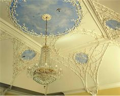 Irish skies...Naomi Jobson's plasterwork in the Rococo style.© Country Life  County Wicklow,  Ireland...  From...  http://a-l-ancien-regime.tumblr.com/