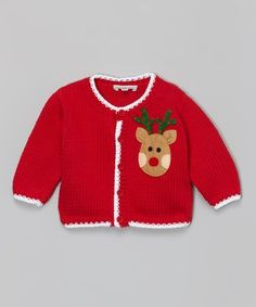This Red & White Reindeer Knit Cardigan - Infant & Toddler is perfect! #zulilyfinds