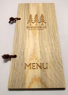 This example was made from Rocky Mountain Beetle-Kill Pine Wood. Wood Menu, Wooden Books, Menu Boards, Bamboo Cutting Board, Rustic Wood, Beetle, Pine, Mountain, Style
