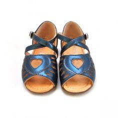 Sandales coeur bleu antique