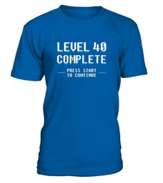 "# Funny Retro Gamer ""Level 40 Complete"" 40th Birthday T Shirt .  Special Offer, not available in shops      Comes in a variety of styles and colours      Buy yours now before it is too late!      Secured payment via Visa / Mastercard / Amex / PayPal      How to place an order            Choose the model from the drop-down menu      Click on ""Buy it now""      Choose the size and the quantity      Add your delivery address and bank details      And that's it!      Tags: 40th Birthday Shirt for…"