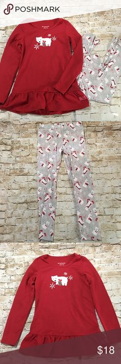 American Girl Playful Polar Bear Christmas Pajamas American Girl Red polar bear pajama set size small 7/8 in gently used condition with no flaws. My daughter wore these for 2 hours for pictures and never again. American Girl Pajamas Pajama Sets