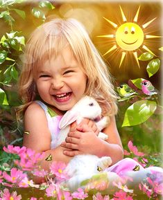 ah summer girl with a rabbit Good Morning Beautiful Pictures, Good Morning Images Flowers, Beautiful Gif, Baby Images, Children Images, Animals For Kids, Cute Baby Animals, Happy Friendship Day, Good Morning Gif